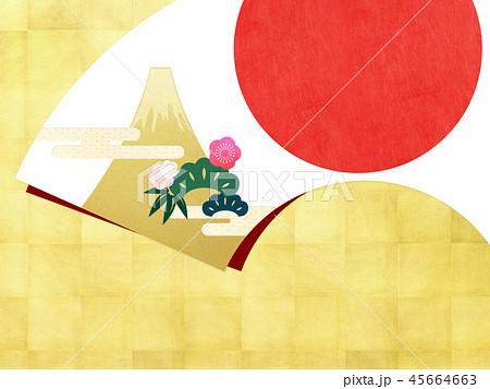 背景-和-和風-和柄-扇-金箔-富士山-日の出-松竹梅 45664663
