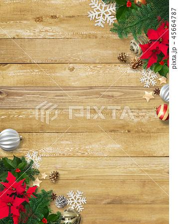 背景-木目-クリスマス-飾り 45664787