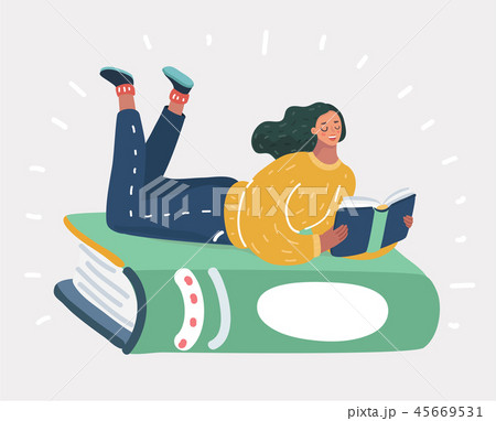 Illustration of a girl lying at green book 45669531