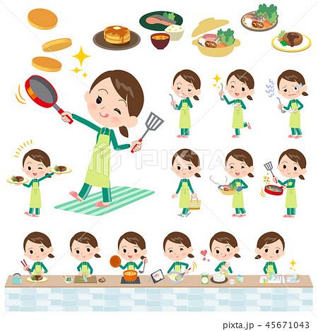 school girl Green jersey_cooking 45671043