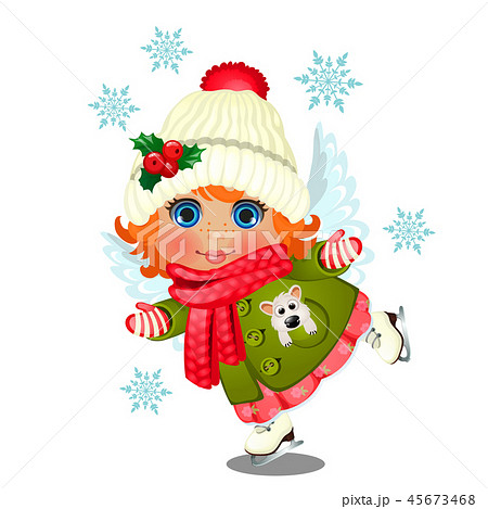 Animated cute little girl in winter clothes, knitted hat with pompon decorated with holly with angel 45673468