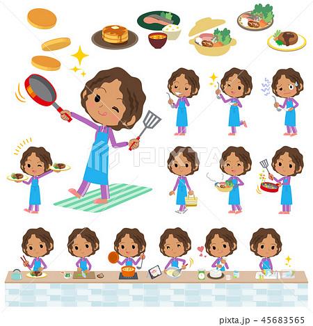 school dark skin girl purple jersey_cooking 45683565