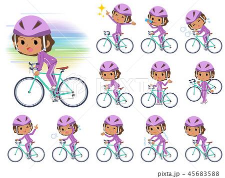 school dark skin girl purple jersey_road bike 45683588