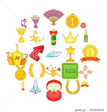 Prize icons set, cartoon style 45684693