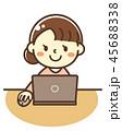 人物 パソコン ノートパソコンのイラスト 45688338