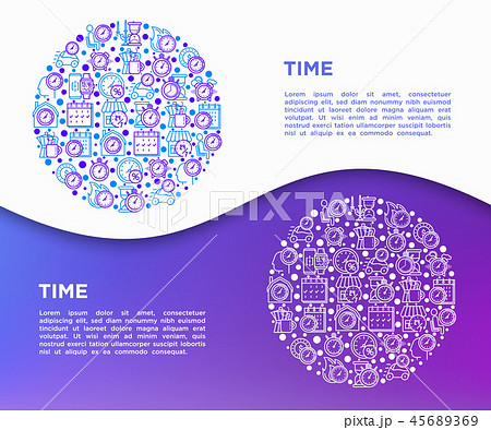 Time concept in circle with thin line icons 45689369