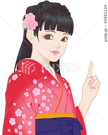 袴の女の子 桜模様 赤 ポイント 45691234