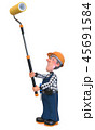3d illustration Builder worker in overalls 45691584