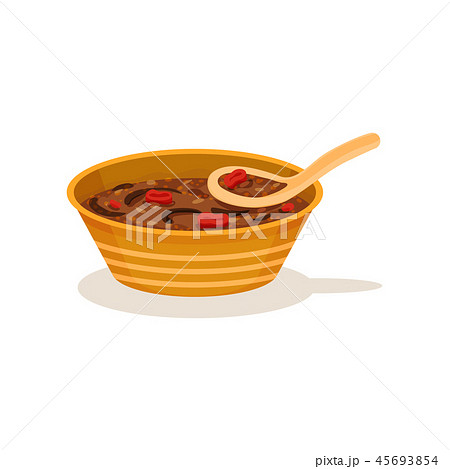 Traditional Malaysian soup in bowl with spoon. Tasty Asian dish. Cooking theme. Flat vector icon 45693854