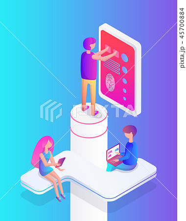 Interactive Reality People Set Vector Illustration 45700884