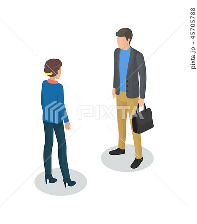 Manager and Man Meeting Set Vector Illustration 45705788