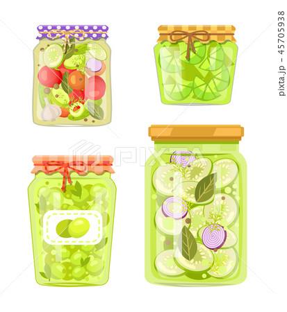 Canned Preserved or Pickled Vegetable Jars Poster 45705938