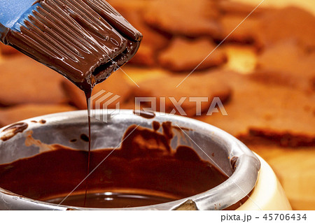 Closeup view of hot brown delicious molten chocolate 45706434