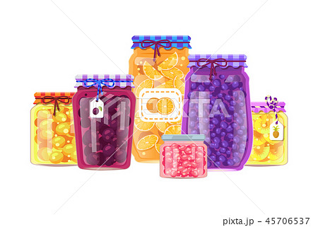 Canning Products Vector Jars with Preserved Fruits 45706537