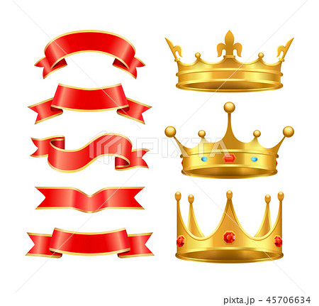 Ribbons and Crowns Icons Set Vector Illustration 45706634