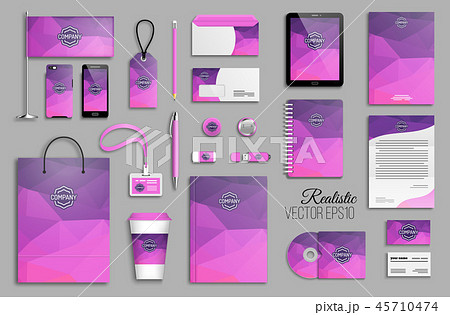 Corporate identity template set and business stationery mock-up 45710474