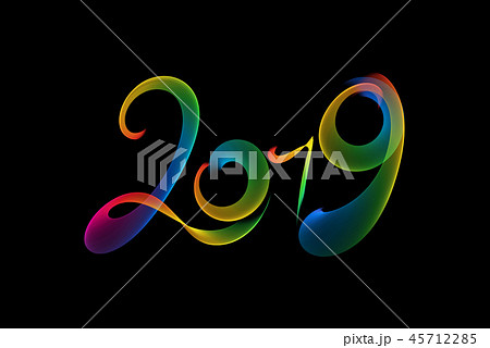 Happy new year 2019 isolated numbers lettering written with rainbow fire flame or smoke on black 45712285