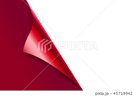 Sheet of curled red paper background. 45719942