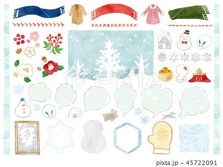 手描き 冬素材1 水彩 45722091