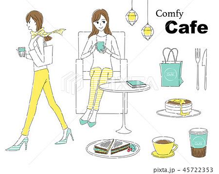 カフェをする女性 45722353