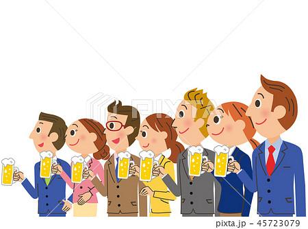 ビールで乾杯をする会社員 45723079