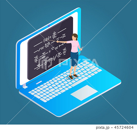 Online Education Cartoon Isolated Vector Emblem 45724604