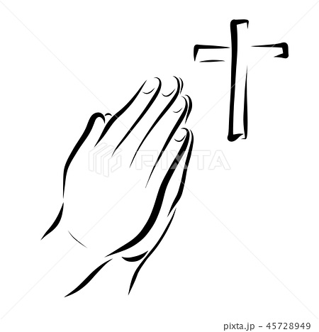 Hands of a praying person and a cross 45728949
