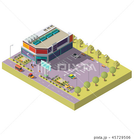 Shopping center with parking isometric vector 45729506