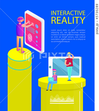 Interactive Reality Cartoon Activity Vector Banner 45730289
