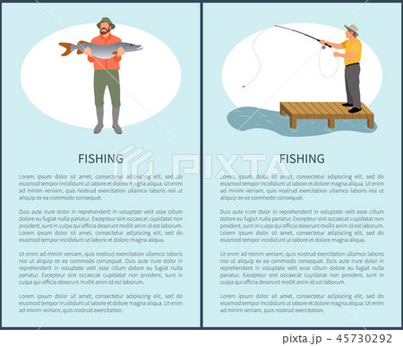 Fishing Flyer with Fisher Guy and Fish on Vacation 45730292