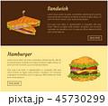 サンドイッチ サンドウィッチ ハンバーガーのイラスト 45730299