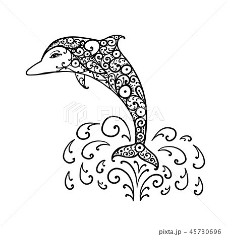 Dolphin ornate logo, sketch for your design 45730696