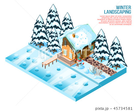 Winter Landscaping Isometric Composition 45734581
