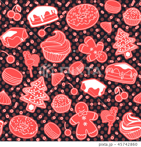 Dessert seamless vector pattern with Christmas elements. Line ar 45742860