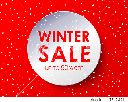 Winter sale design circle in paper style 45742891