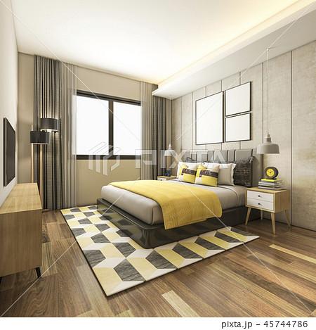 beautiful luxury yellow bedroom suite in hotel  45744786