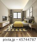 ベッド ベッドルーム 寝室のイラスト 45744787