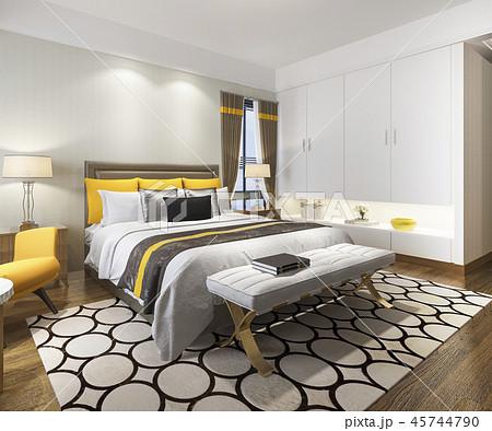 beautiful luxury yellow bedroom suite in hotel  45744790