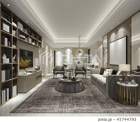 modern dining room and living room 45744793