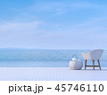Pool terrace with blurry background 3d render 45746110