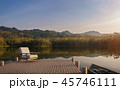 Wooden pier with mountain view 3d render 45746111
