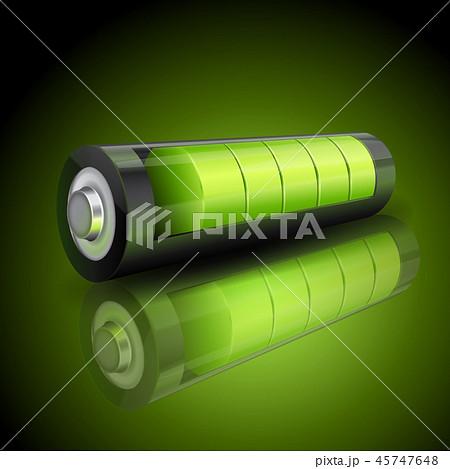 Realistic 3d green battery, charging status indicator 45747648