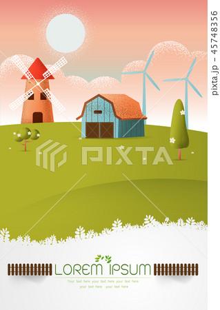 farm landscape Vector texture style  illustration 45748356