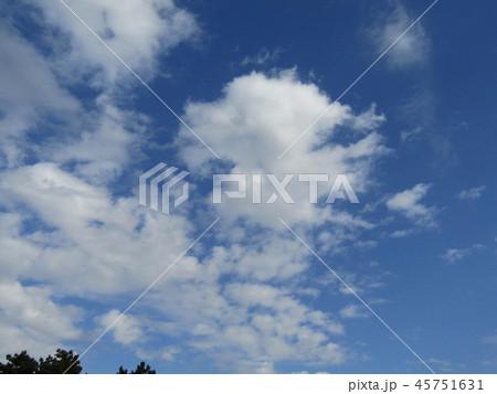 稲毛海岸の青い空に白い雲 45751631