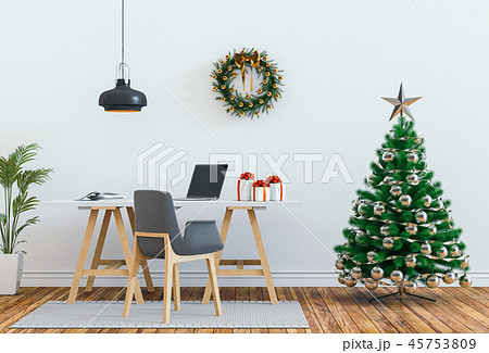 interior living room with Christmas. 3D render 45753809