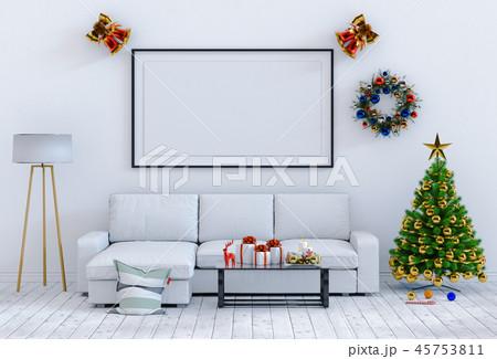 mock up poster frame Christmas interior room 45753811