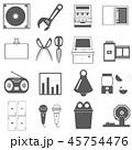 アイコン素材 CD ラジオ トランプ レンチ はさみ マイク スロット ガチャガチャ ノート ベル等 45754476