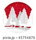 クリスマス レリーフ 木のイラスト 45754870
