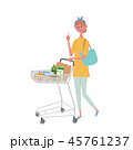 ショッピングカートをおす 女性 45761237