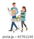 ショッピングカートをおす 女性 家族 45761240